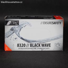 Rukavice nitrilové èerné NITRAS 8320 / Black Wave - S